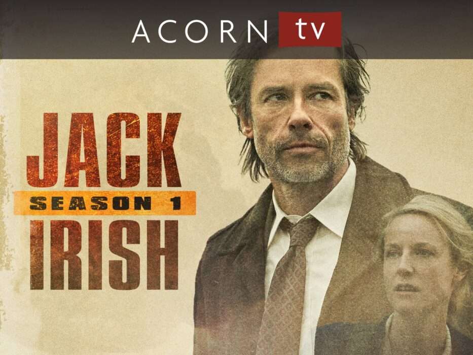 Jack Irish Promo shot featuring Guy Pearce as Jack Irish and Marta Dusseldorp as Linda Hillier