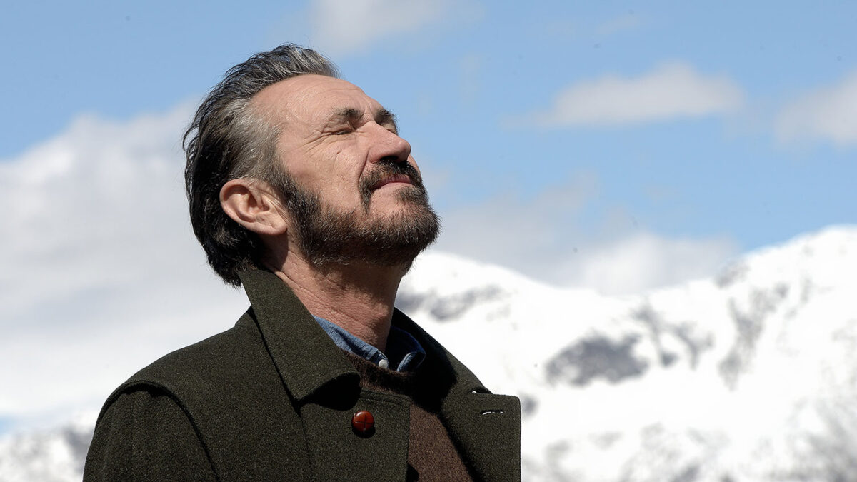 Rocco Schiavone played by Marco Giallini in the mountains of Aosta