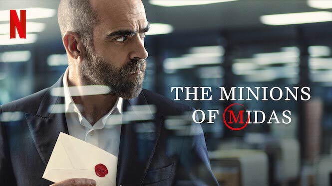 The Minions of Midas promo shot from Netflix, with Luis Tovar as Víctor Genovés, holding a letter containing a deadly ultimatum.