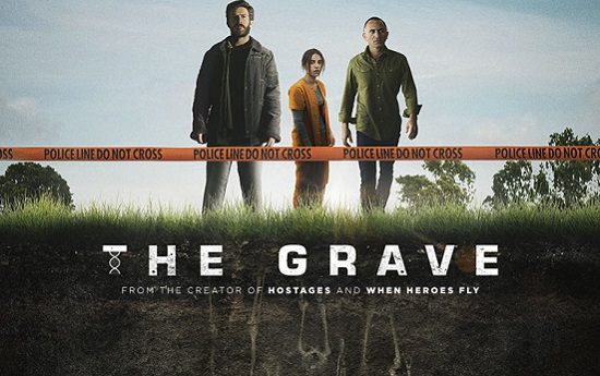 The Grave English language promo shot with Nadav Netz as Yoel, Liana Ayun as Avigail, and Shalom Michaelshwilli as Niko