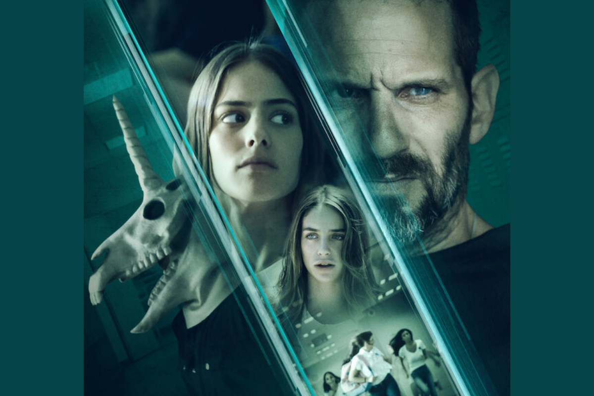 Promotional image of Black Space on Netflix with an image of a unicorn mask, students including Shira, played by Gily Itskovitch and Libi, played by Liana Ayun, and Investogator Rami Davidi, played by Guri Alfi