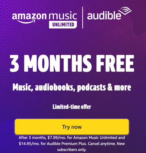 Amazon Prime Music and Audible Free Trial Advertisement